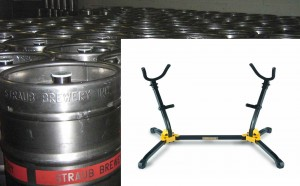 saxophone stand and kegs
