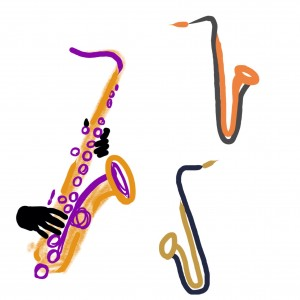 three saxophones